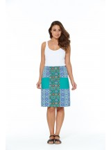 Tasha A line Cotton Skirt - Santorini and Patchwork Prints